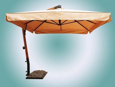 Зонт с боковой деревянной опорой. Размер купола 3х3 м. 2021 г.