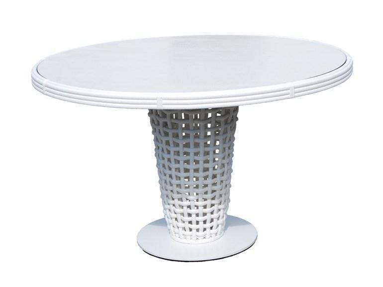 Стол плетеный со стеклом Dynasty