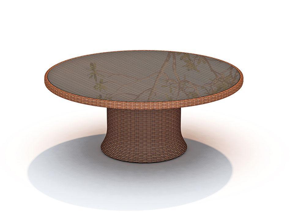 Стол плетеный со стеклом Ebony