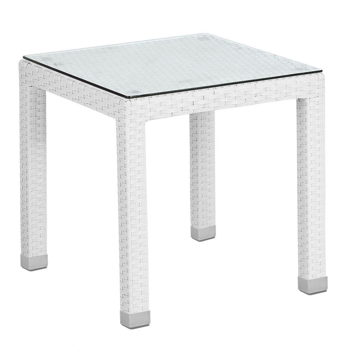 Стол плетеный журнальный со стеклом Steps