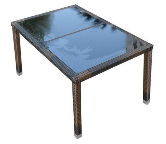 Стол плетеный со стеклом обеденный