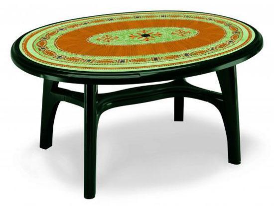 Стол пластиковый обеденный Ovolone 1500 с мозаикой