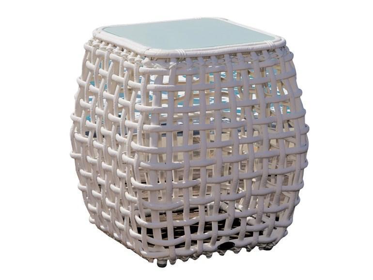 Стол плетеный со стеклом приставной Dynasty