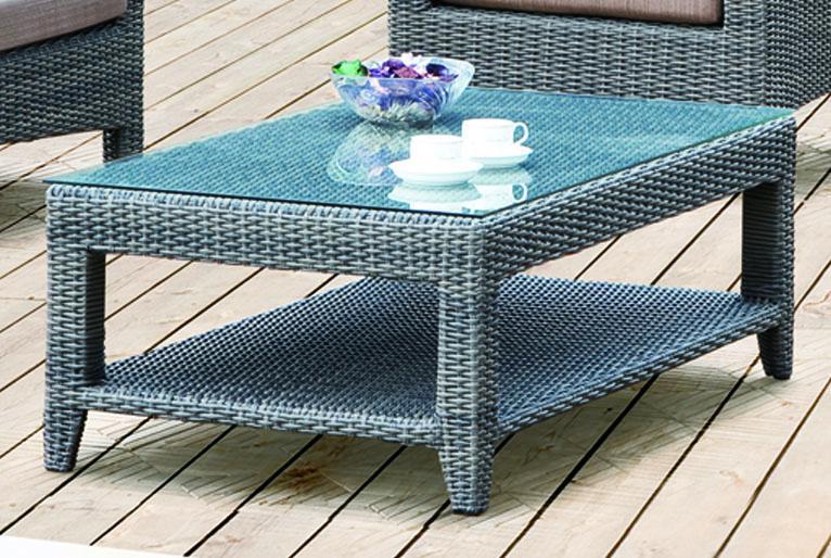 Стол плетеный со стеклом кофейный Grace