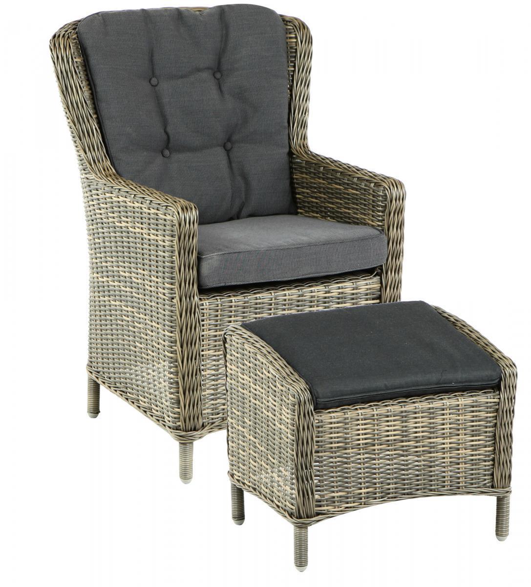 Кресло и табурет плетеные Marina