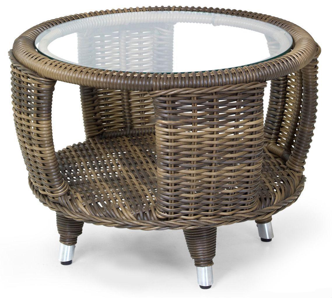 Стол плетеный со стеклом журнальный Evita