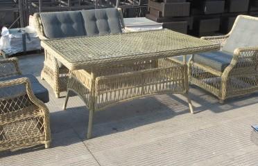 Стол плетеный со стеклом Oslo