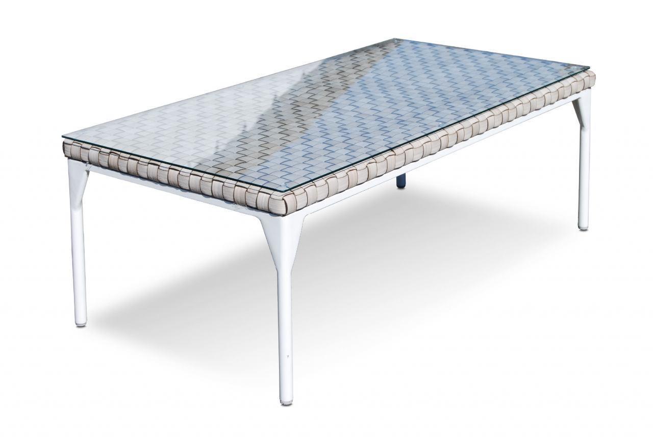 Стол плетеный со стеклом журнальный Brafta