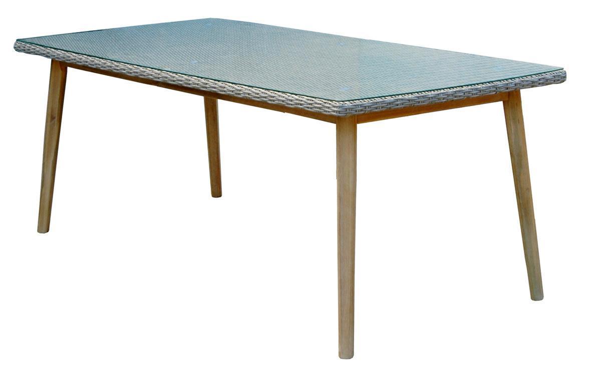 Стол плетеный со стеклом Arosa