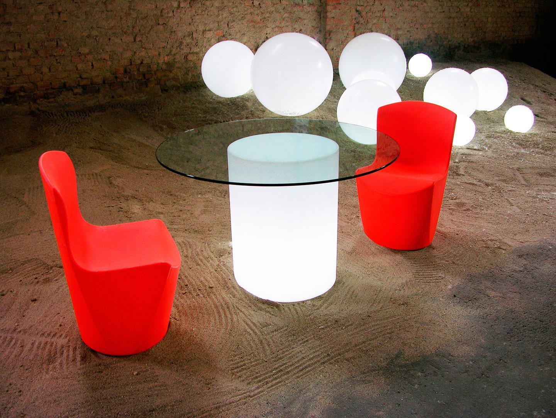 Стол пластиковый со стеклом светящийся Arthur Lighting