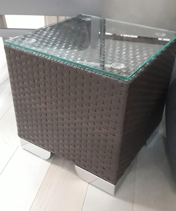 Столик плетеный журнальный со стеклом Лаунж