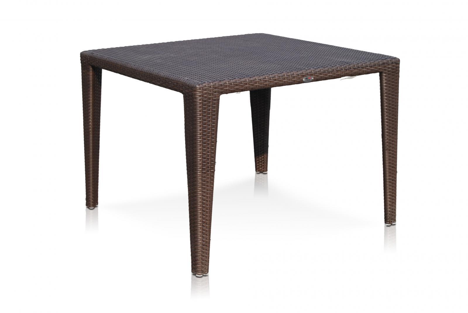 Стол плетеный со стеклом Malta/Plank