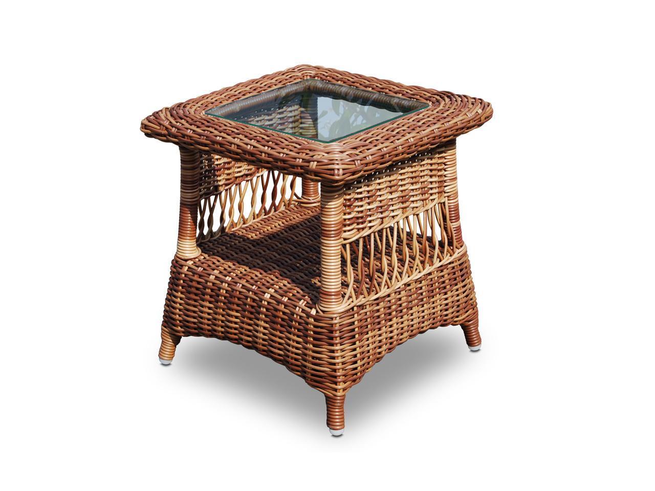 Стол плетеный со стеклом приставной Ebony