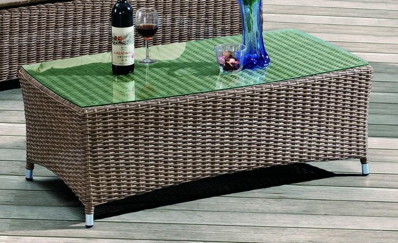 Стол плетеный со стеклом кофейный Opal