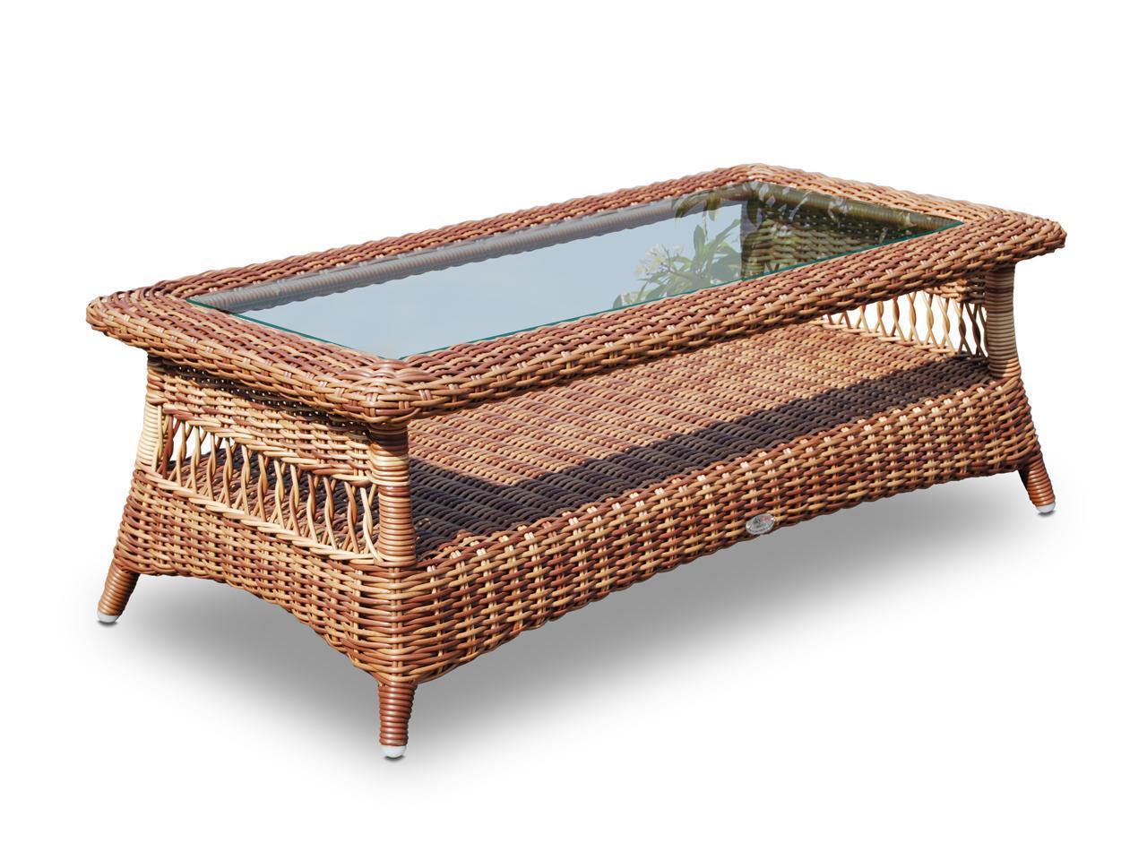 Стол плетеный со стеклом журнальный Ebony
