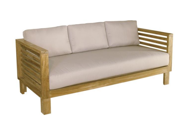 Деревянный трехместный диван без подушки Saint Tropez