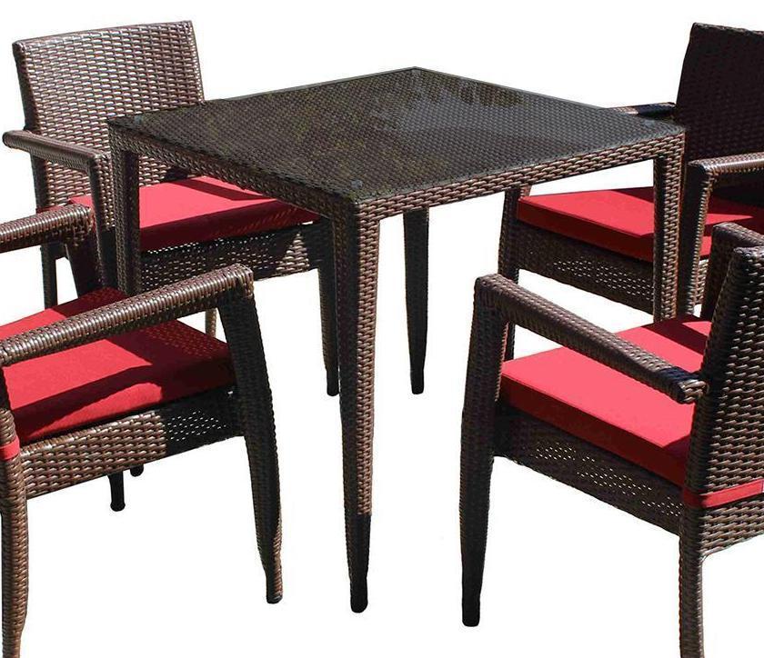 Стол плетеный со стеклом BraFab