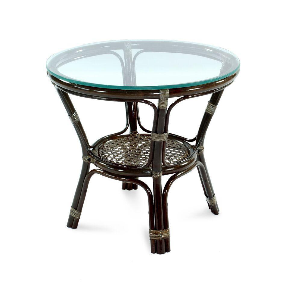 Стол плетеный со стеклом журнальный Ellena