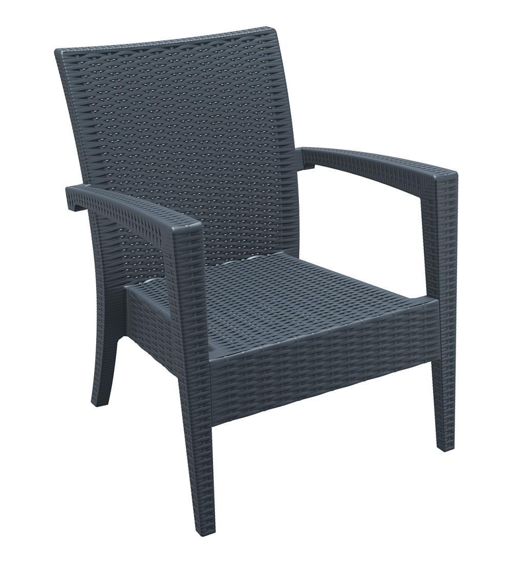 Кресло пластиковое плетеное Miami Lounge Armchair