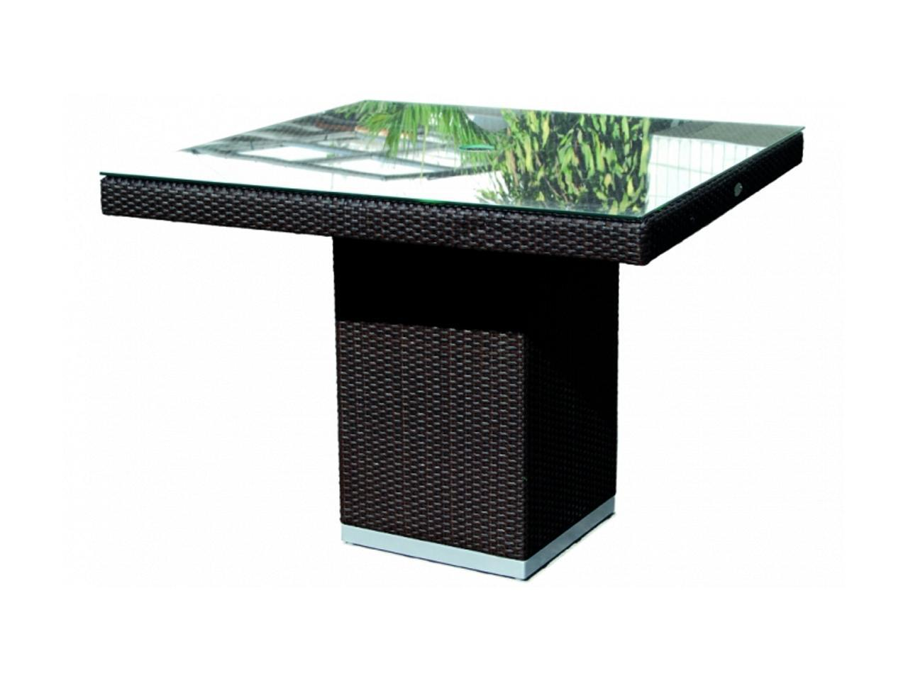 Стол плетеный со стеклом Pacific