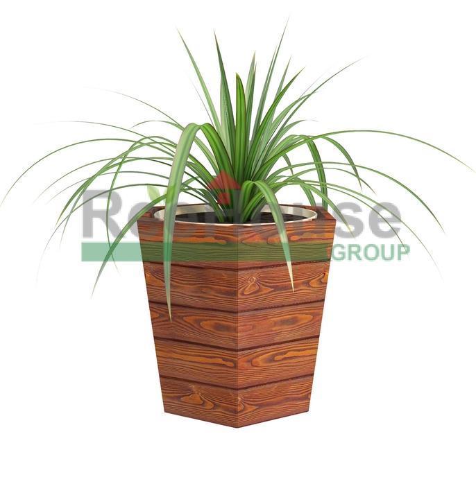 Деревянное шестиугольное конусное кашпо