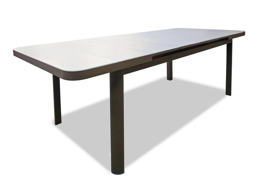 Стол плетеный со стеклом раздвижной Sunstone