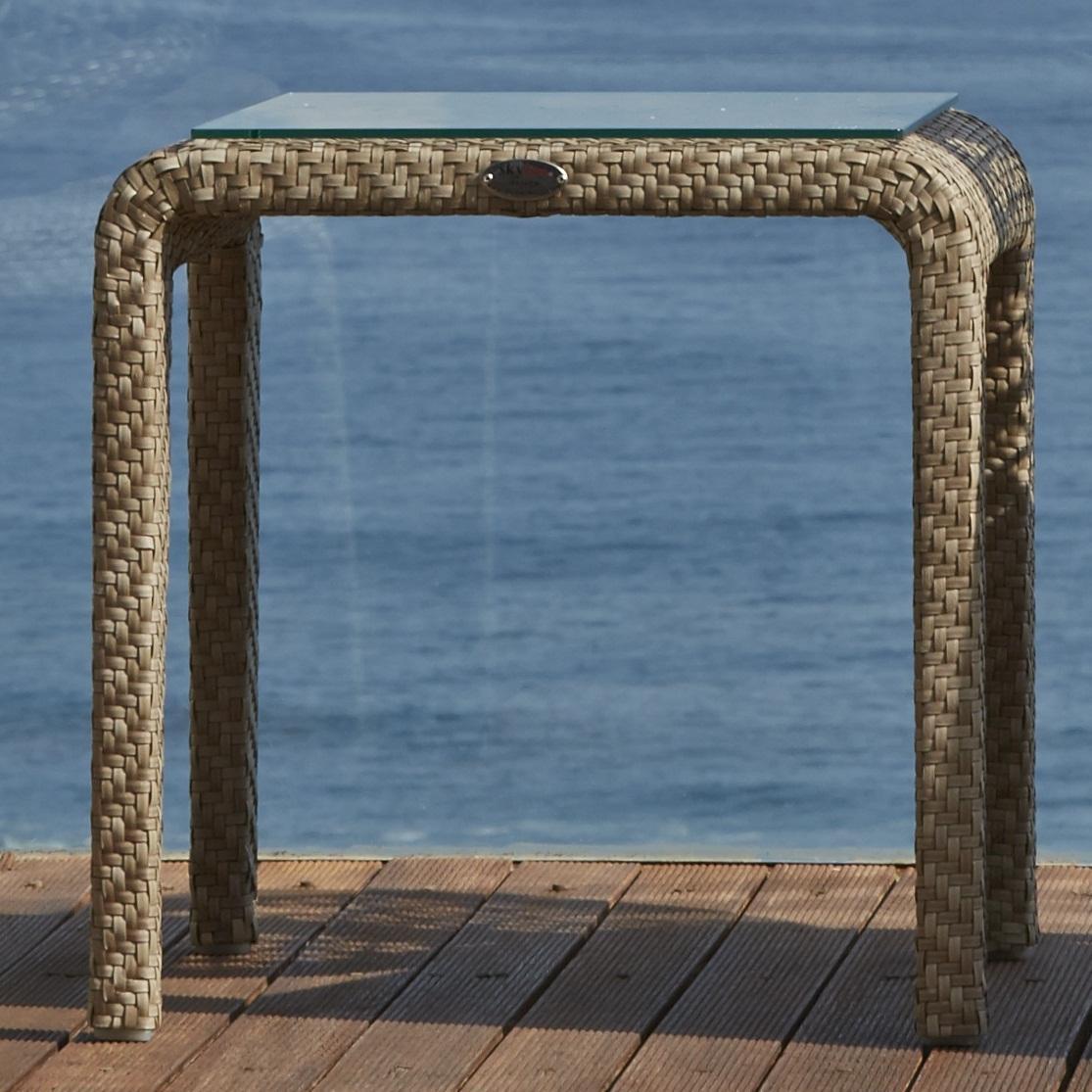 Стол плетеный со стеклом приставной Journey