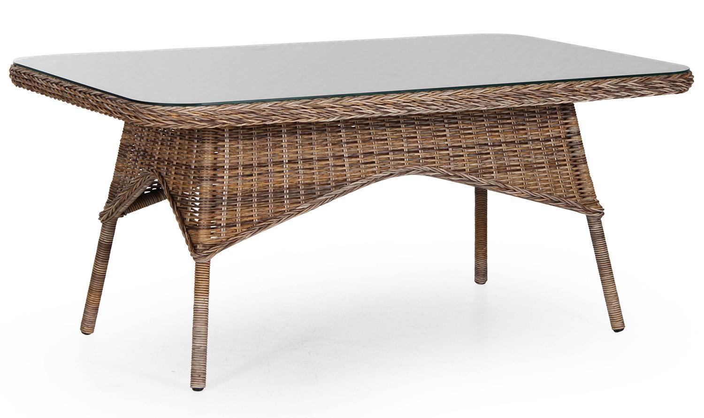 Стол плетеный со стеклом Evita