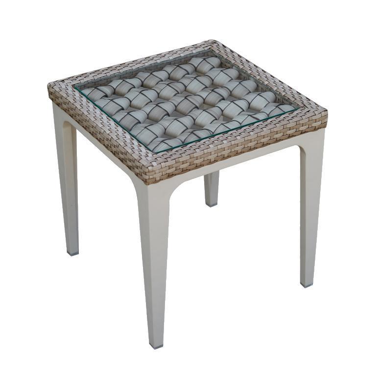 Стол плетеный со стеклом приставной Heart